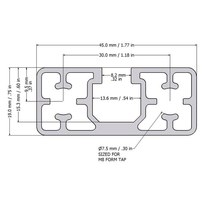 MiniTec T-Slotted Aluminum Profile 45x19
