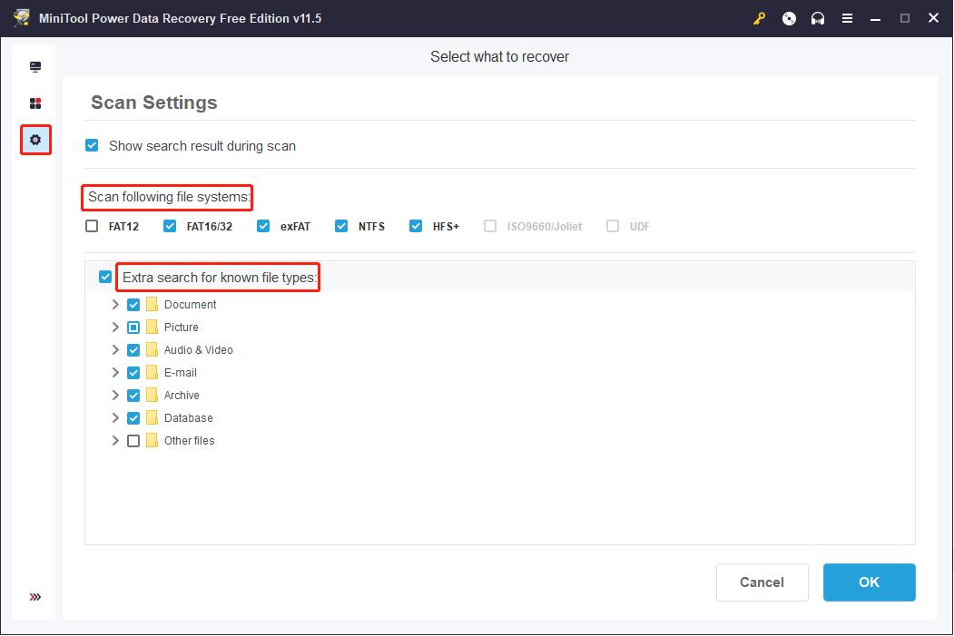 selecionar partição contém arquivos apagados