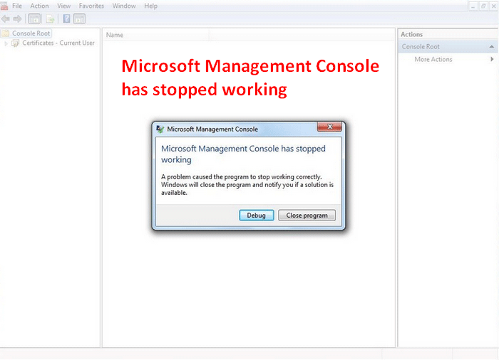 Microsoft Management Console Has Stopped Working - Solved