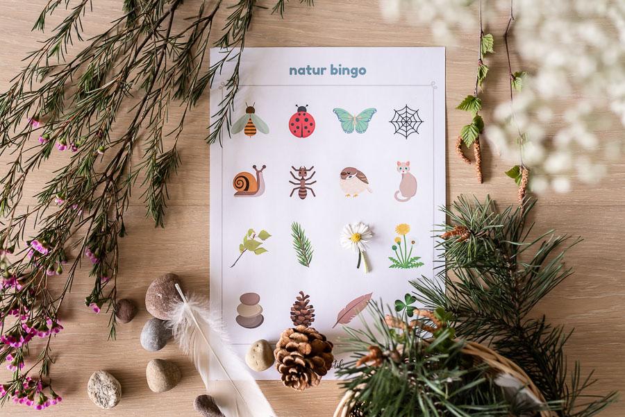 Mit Kindern die Natur entdecken: Kostenlose Druckvorlage für ein Naturbingo #naturbingo #druckvorlage