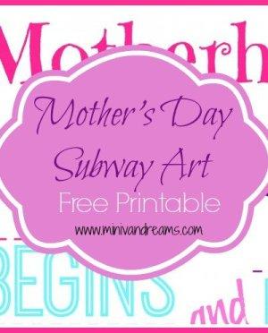 Mother's Day Subway Art Free Printable via Mini Van Dreams