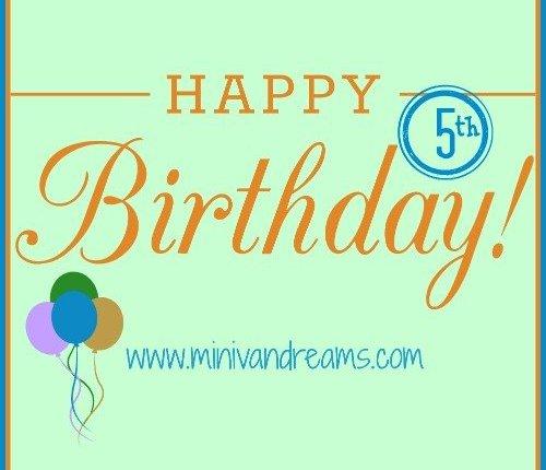 Happy 5th Birthday! via Mini Van Dreams