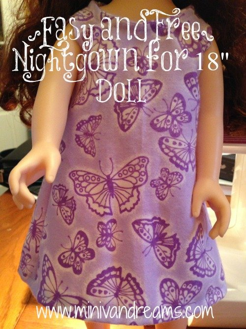 "Nightgown for 18"" Doll {EASY} 