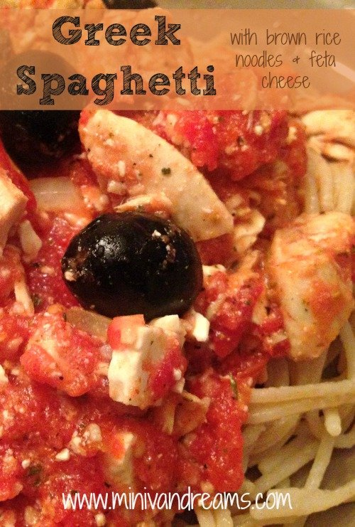 Greek Spaghetti with Brown Rice Noodles | Mini Van Dreams