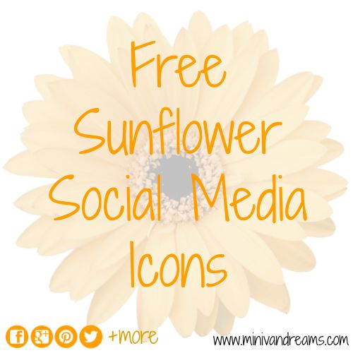 Free Sunflower Social Media Icons | Mini Van Dreams