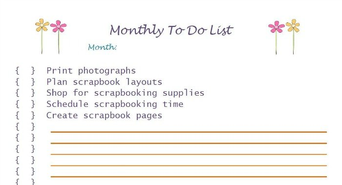 Scrapbooking Monthly To Do List Free Printable | Mini Van Dreams