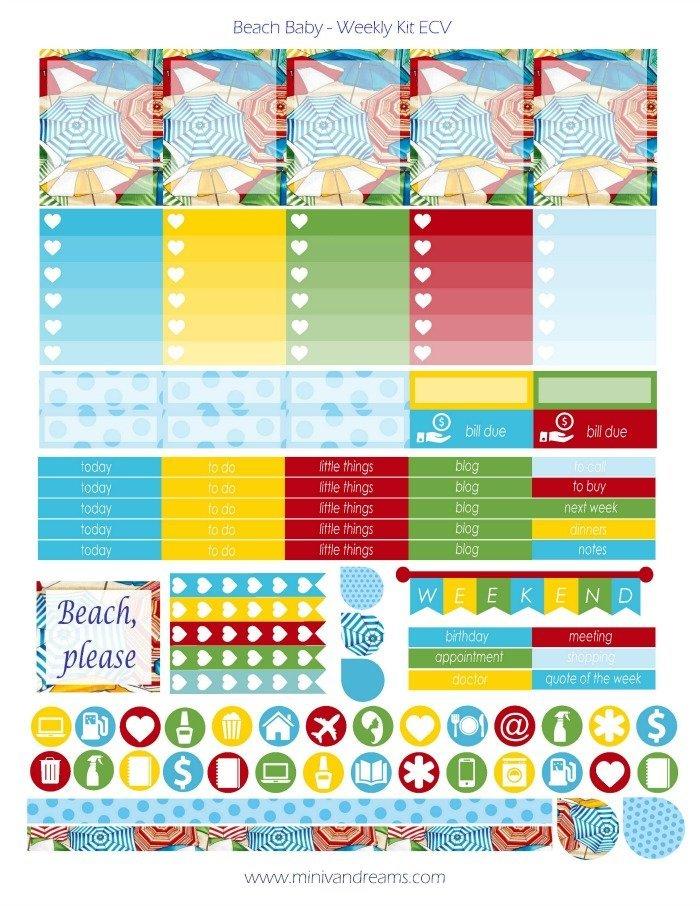 Free Printable Planner Stickers - Beach Baby   Mini Van Dreams