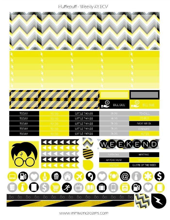 Free Printable Planner Stickers - Hufflepuff | Mini Van Dreams