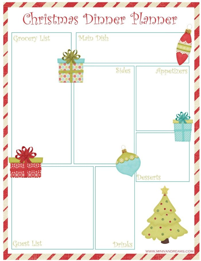 Christmas Dinner Planner Free Printable | Mini Van Dreams