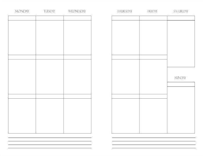 Free Printable Weekly Planner Insert