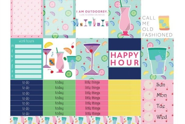 Free Printable Planner Stickers: Fancy Drinks | Mini Van Dreams