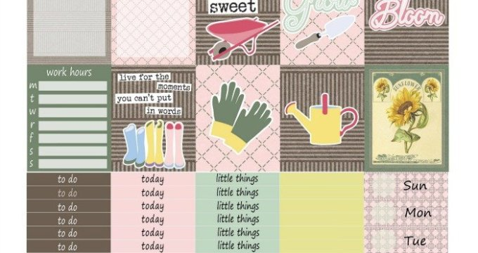 Free Printable Planner Stickers: Garden Life (ECV & HP)