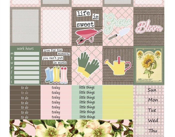 Free Printable Planner Stickers: Garden Life (ECV & HP) | Mini Van Dreams