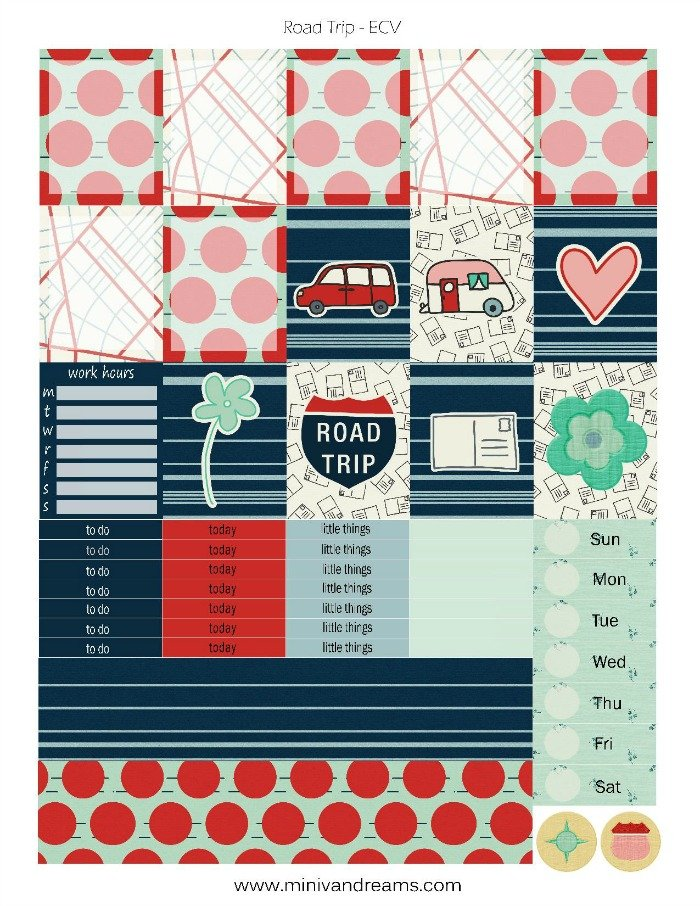 Free Printable Planner Stickers: Road Trip (ECV & HP)