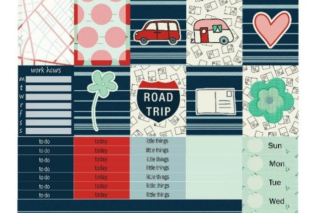 Free Printable Planner Stickers: Road Trip (ECV & HP) | Mini Van Dreams