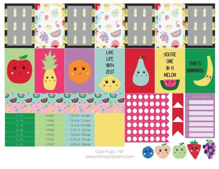 Free Printable Planner Stickers: Cute Fruits   Mini Van Dreams