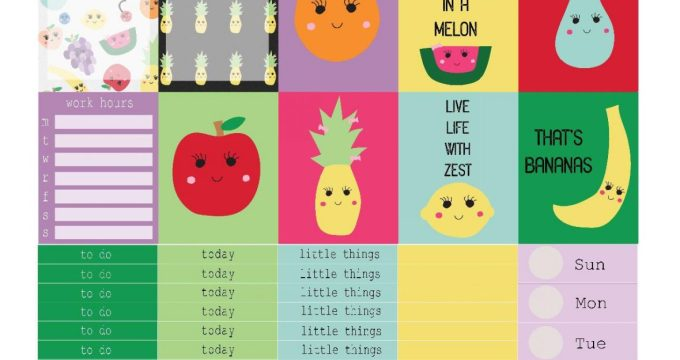 Free Printable Planner Stickers: Cute Fruits (ECV & HP)