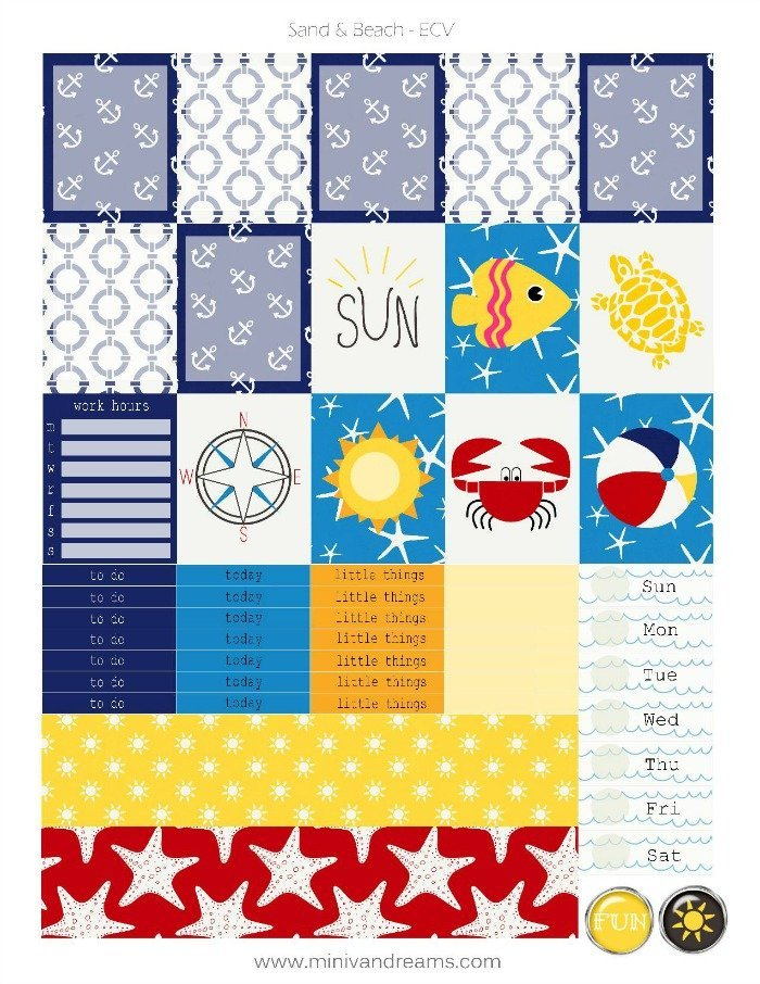 Free Printable Planner Stickers: Sand & Beach (ECV & HP)