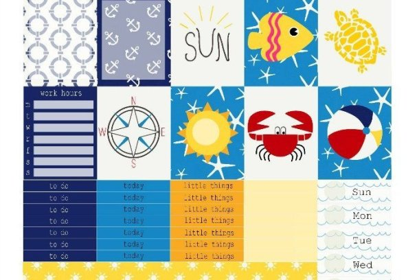 Free Printable Planner Stickers: Sand & Beach | Mini Van Dreams