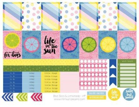 Free Printable Planner Stickers: Blue Skies & Lemonade   Mini Van Dreams