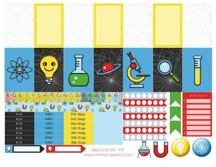 Free Printable Planner Stickers: Mad Scientist (ECV & HP) | Mini Van Dreams