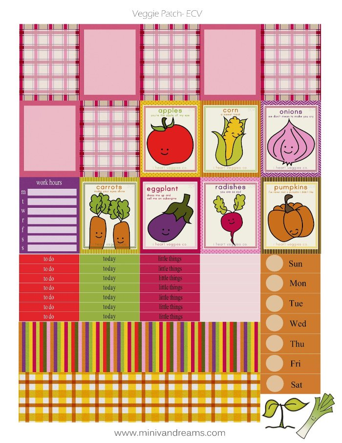 Free Printable Planner Stickers: Veggie Patch | Mini Van Dreams