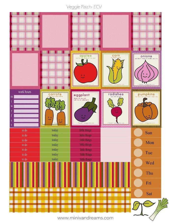 Free Printable Planner Stickers: Veggie Patch | Mini Van Dreams