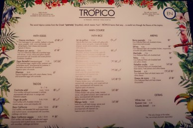 Best brunch in Barcelona @minkaguides Tropico brunch menu