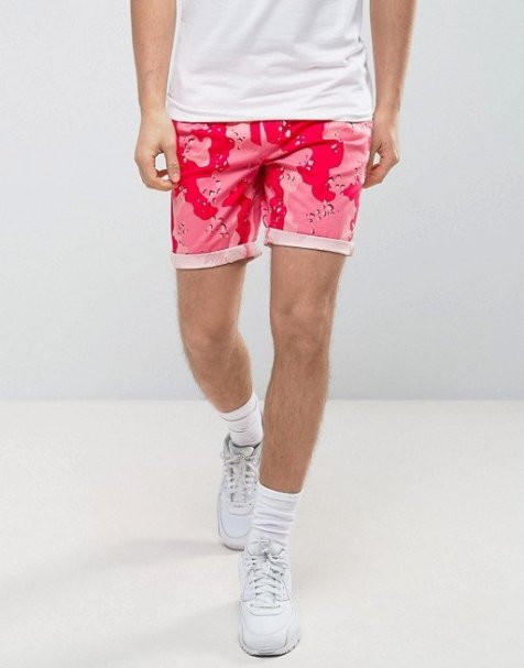 ASOS Slim Shorter Chino Shorts with Pink Camo Print