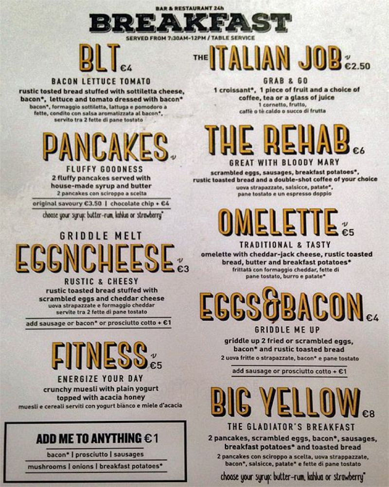 Review The Yellow Hostel Rome @minkaguides breakfast menu