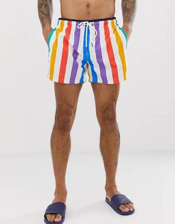Cute swimsuits Dock & Bay recycled stripe swim shorts in rainbow CREDIT Asos