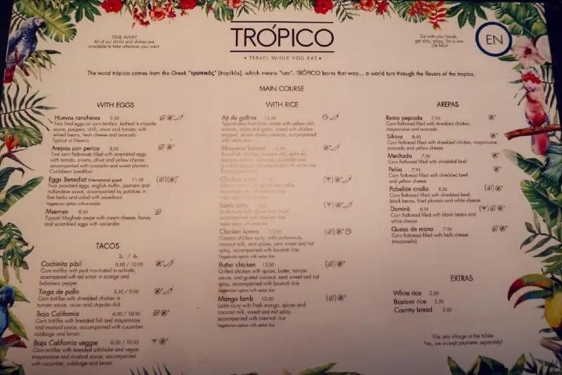 Gluten-free Barcelona Tropico-brunch-menu CREDIT Minka Guides