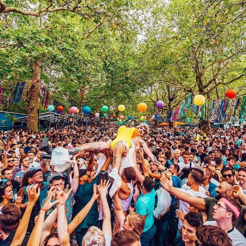Doing drag - Joseph Wilson crowdsurfing at the Sink The Pink street party 2019 CREDIT Sink The Pink