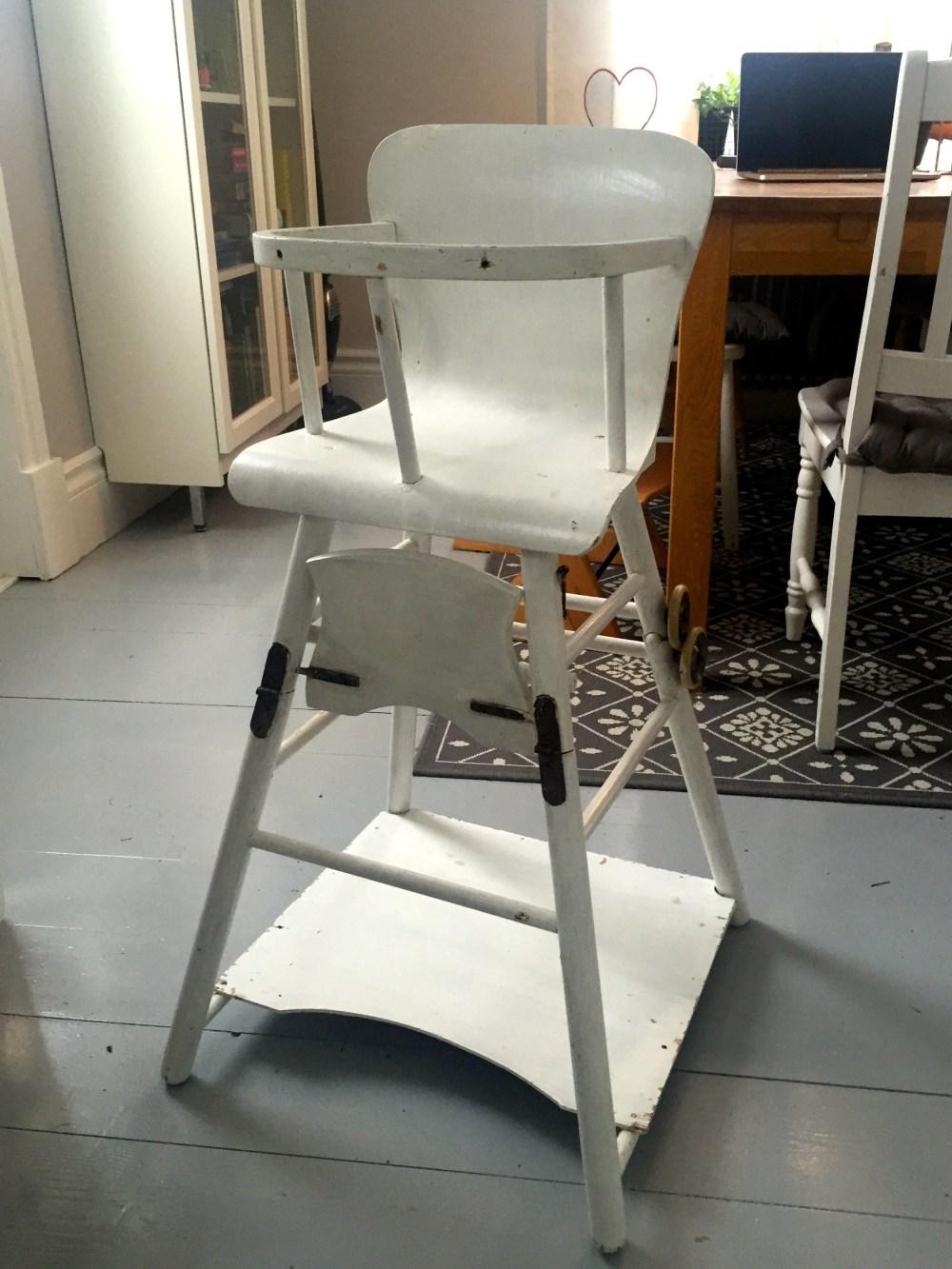 retro barnstol vit