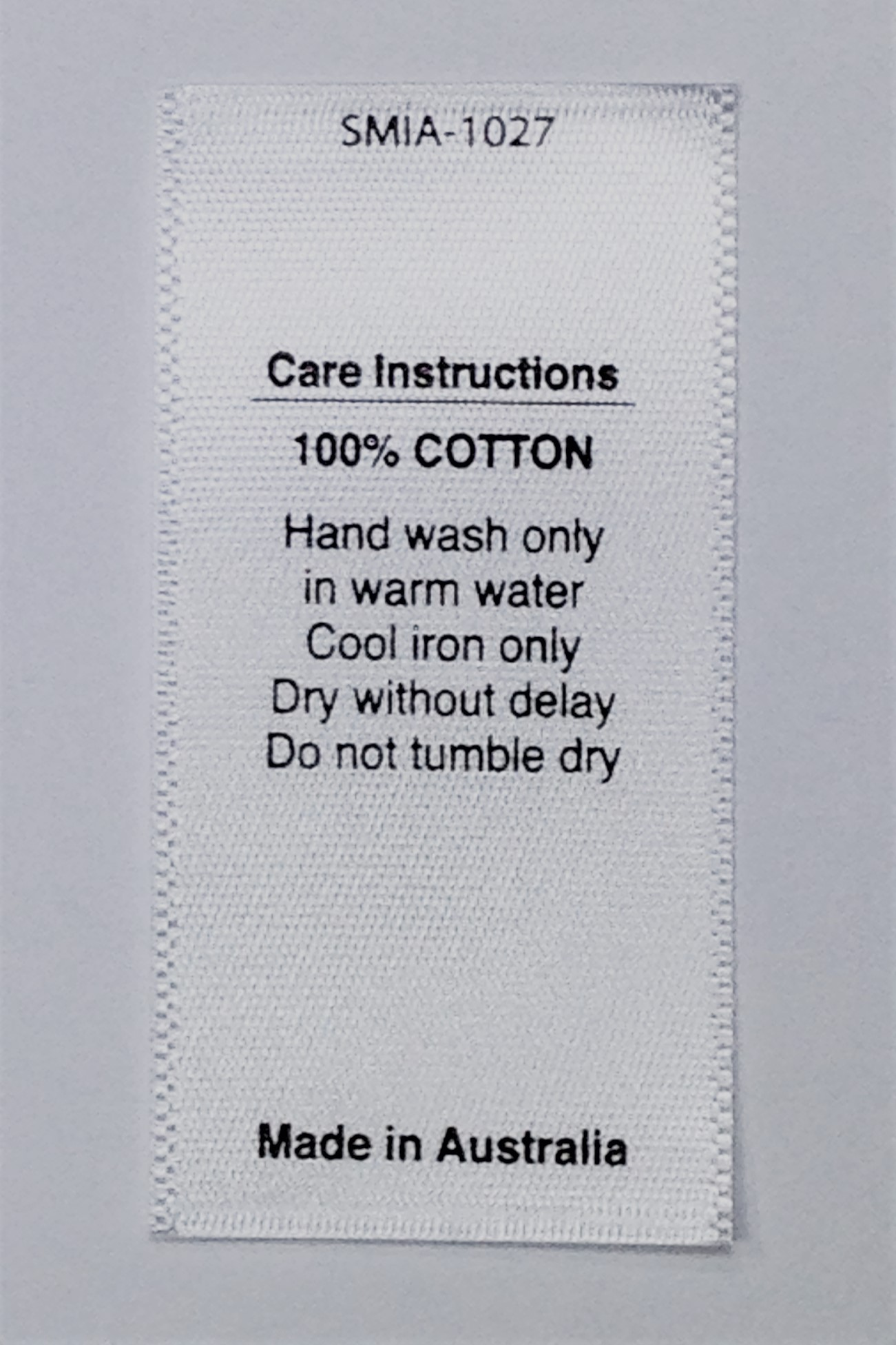 White Satin Care Labels 100 Cotton Hand Wash Only