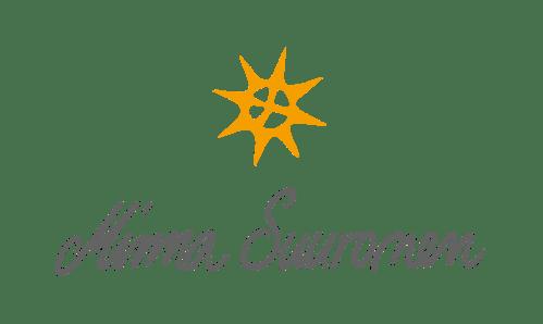 Minna Suuronen Oy - logo, jossa oranssinkeltainen aurinko tai tähti
