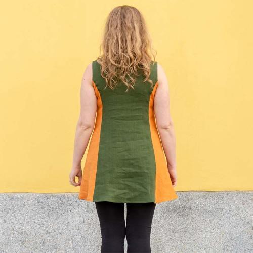 Taskutunika takaapäin, monivärinen, lämpimät sävyt, pellavainen