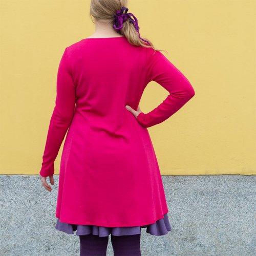 Pinkki merinomekko, merinovillaneulosta, Minna Suuronen Design