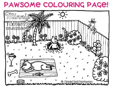 Free colouring page from Minnie The Westie