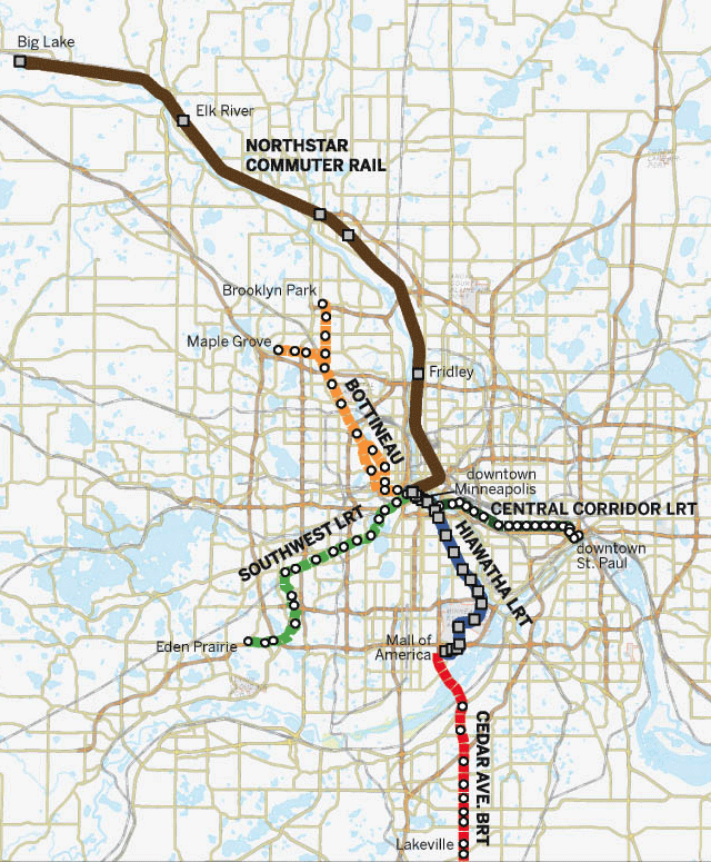 Completed and proposed LRT lines in the Twin Cities metro area.