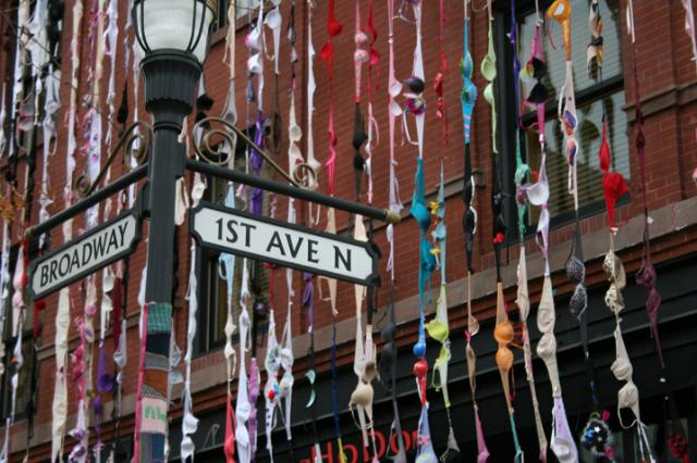 The Bras on Broadway art installment on the corner of First Avenue North and Bro
