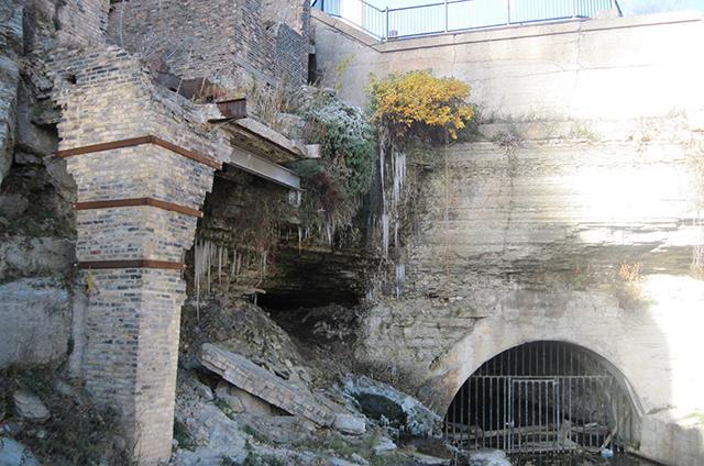 photo of broken off column in mill ruins