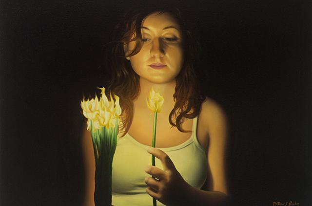 """Matthew Rucker, """"Fire Flowers,"""" Oil on canvas - 18"""" x 24"""""""