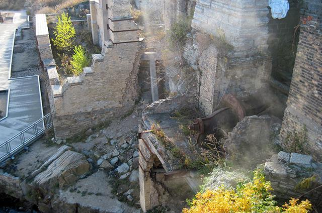 overhead photo of mill ruins