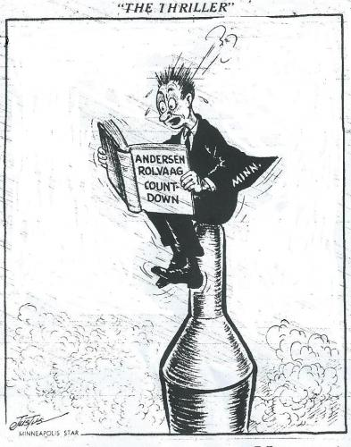 Political cartoon appearing in the Minneapolis Star on December 21, 1962