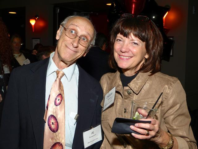 MinnPost journalist Al Sicherman with party co-chair Debbie Irestone