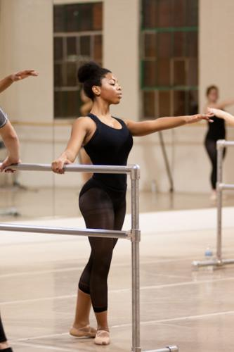 At the barre in the Dance Center