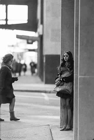 waiting on corner
