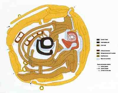 Motilla Del Azuer Tholos Watchtower, Top View Diagram, Daimiel, Castilla-La Manche, Spain