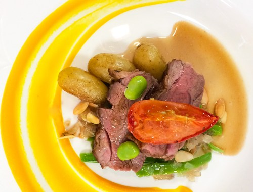 Sample Menu Roasted Rump of Lamb w/ Carrot Puree, Confit Potato and a Red Wine Jus